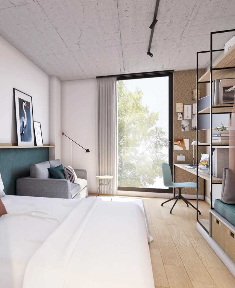 Habitación con vistas. Luz exterior.