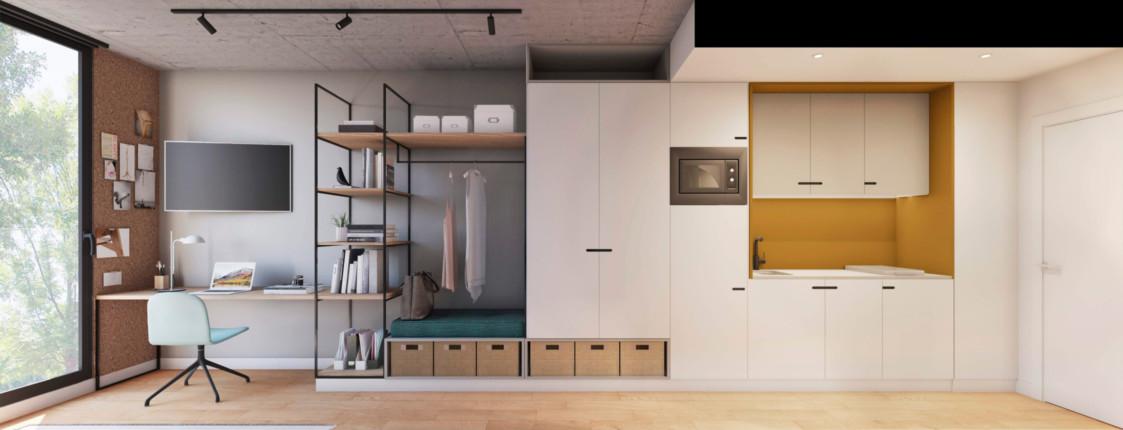 Loft. Cocina equipada e integrada.